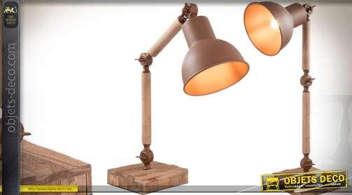 Lampe d'atelier rétro en bois et métal, bois vieilli et métal brun