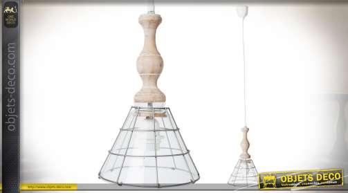Suspension vintage en bois et métal style lampe d'atelier ancienne