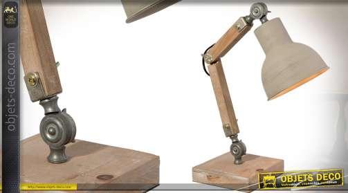 Lampe d'atelier en bois et métal avec bras articulé 47 cm