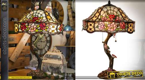 Lampe Tiffany style Art Déco reproduction lampes 1900, modèle Sylvia Hortensis
