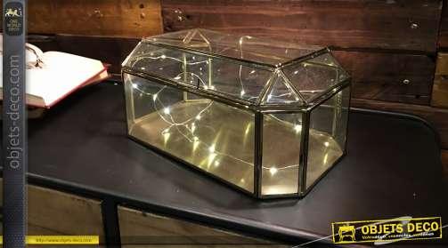 Mini-vitrine en verre et laiton doré, style luxueux et vintage