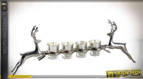 Grand porte-bougies photophores en aluminium et verre, statuettes de cerfs argentés