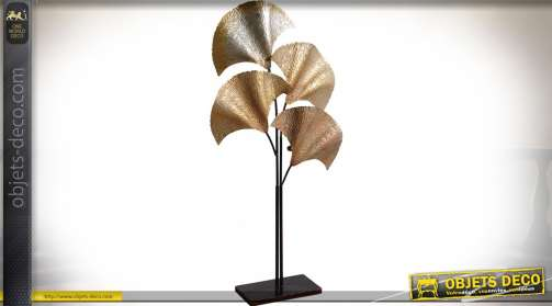 Bougeoir de luxe en forme de palmier stylisé coloris métal argenté, cuivré et doré