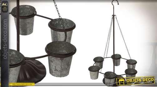 Jardinière circulaire suspendue en métal avec six pots finition zinc ancien