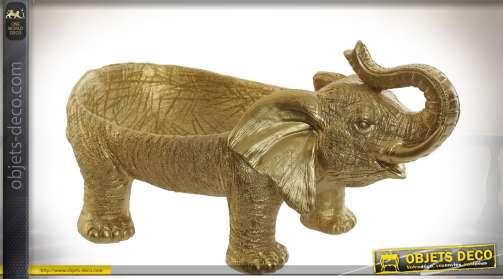 Plat de présentation / centre de table en résine finition dorée, de style animalier, thème éléphants