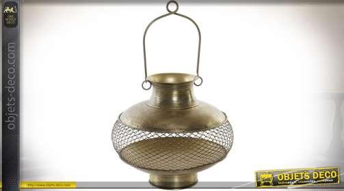 Grand bougeoir en forme de lanterne/vase suspendu ou à poser, en métal doré vieilli façon laiton ancien