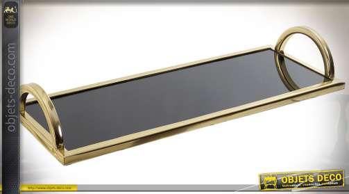 Long plateau design en métal doré et verre noir avoir poignées latérales en arcades