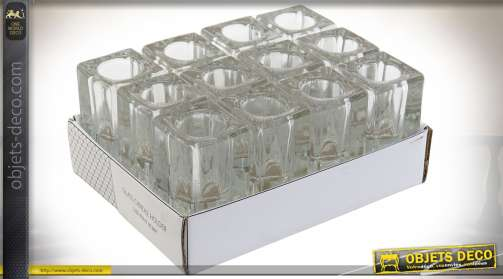 Ensemble de 12 bougeoirs en verre épais transparent pour bougies et chandelles