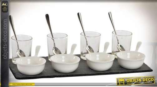Kit amuse-gueules et verrines en verre, métal, ardoise et céramique blanche pour apéritifs