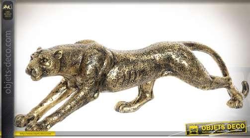 Longue statuette animalière : panthère finition dorée et vieillie imitation métal
