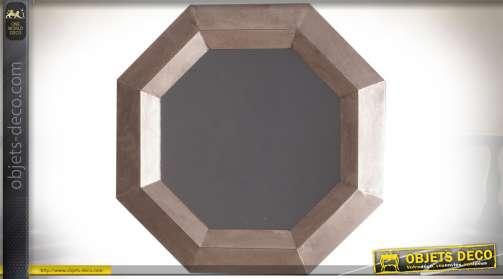 Miroir esprit industriel en métal patine vermeil cuivré vieilli de forme octogonale