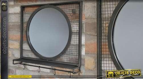 Miroir en métal finition noir mat avec crochets et rebord style indus