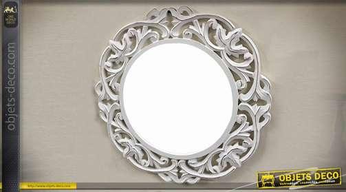 Miroir mural de style baroque finition blanc antique, forme ronde, diamètre 60 cm