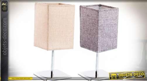 Ensemble coordonné de deux lampes de salon ou de bureau avec piètement à base carrée en métal chromé. Abat-jour originau en tissu Champagne et Lilas,
