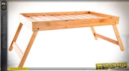 Plateau de service pliable en bambou pour petit déjeuner au lit.