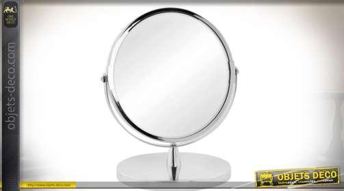 Miroir de salle de bain sur pied, finition chromée avec glace pivotante