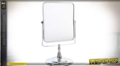 Miroir à poser de style rétro finition chromée à glace pivotante