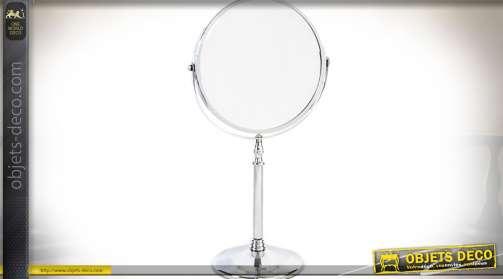 Miroir rond pivotant sur pied, de salle de bain en métal chromé.