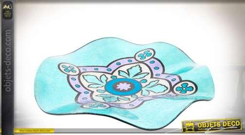 Grand plateau en verre irrisé coloris bleu et lilas, à formes ondulées, centre de table décoratif.
