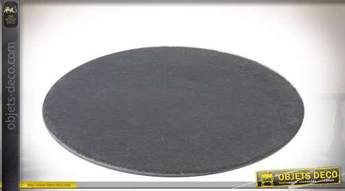 Plateaux de présentation pour plats, en ardoise naturel, forme ronde, diamètre 20 cm/