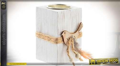 Lot de 4 décos en bois style madrier bois blanc, cordage et figurine d'oiseau en bois.