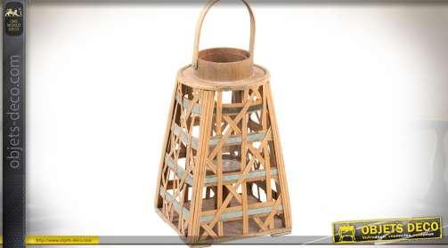 Grande lanterne en lames de bambou tressées avec support bougeoir intérieur en verre et métal