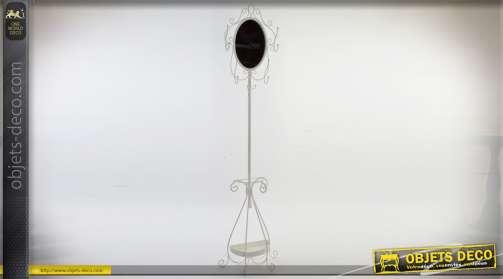 Miroir de style rétro, glace ovale, sur pied en métal ornementé patine grise 192 cm