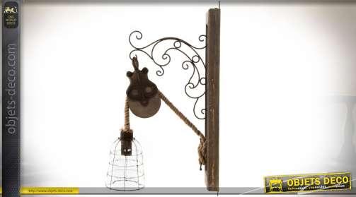 Applique murale de style rétro en bois et métal avec cadre mural en bois, potence en métal façon fer forgé, poulie en bois et métal et cordage et réfl