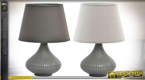 Ensemble de deux lampes originales, en céramique, finition vernissée gris à cannelures, avec abat-jour conique, un modèle blanc et un modèle gris anth