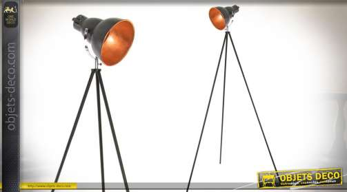 Grand lampadaire en forme de projecteur rétro métal coloris anthracite et cuivré (intérieur du réflecteur). 1 x E27.