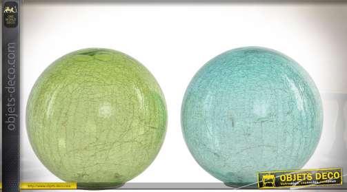 Ensemble de deux lampes en forme de sphères translucides effet veiné avec éclairage LED