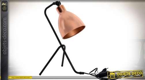 Lampe design et chic, finition noir et cuivre, style atelier ou bureau. Hauteur : 39 cm.