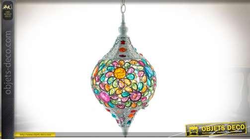 Suspension de style Indien à motifs stylisés de fleurs en brillants multicolores Ø 25 cm.