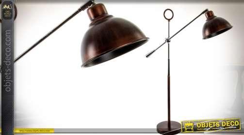 Lampadaire ou grande lampe 74 cm avec pied chromé et bras basculant, réflecteur bol de style indus. finition métal anthracite.