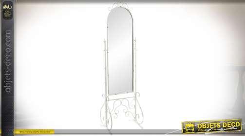 Miroir en métal, façon fer forgé, patine blanche rétro, présentation psyché
