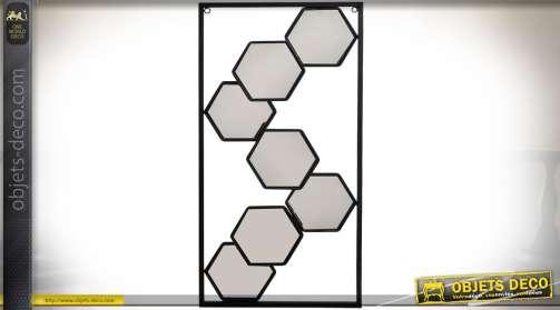 Décoration murale en métal multi-miroirs (7) forme hexagonale, coloris noir