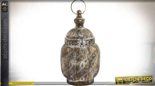 Lanterne décorative à poser en métal bronze doré vieille ouvragé et ajouré Ø 16,5 cm/