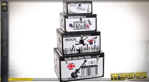 Ensemble de 4 coffres gigognes en bois illustrés sur le thème de la musique rock et de l'Angleterre.