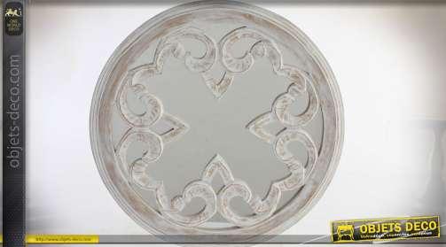 Miroir mural blanc effet rétro et vieilli. Diamètre 45 cm.