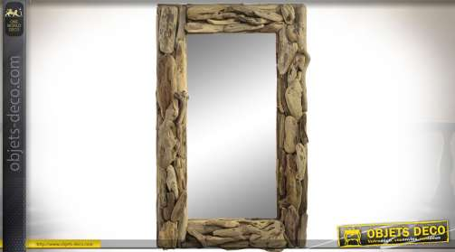 Grand miroir mural rectangulaire finition bois flotté aspect naturel effet vieilli