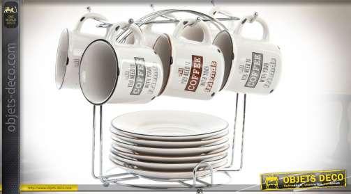 Ensemble composé d'un support en métal chromé et de six tasses à café et six soucoupes en grès, coloris ivoire effet vieilli.