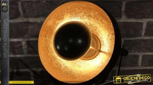 Lampe d'appoint moderne indus en metal finition noir mat avec interieur doré brillant ancien