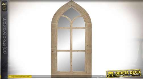 Miroir de style gothique en forme de fenêtre ancienne effet bois vieilli