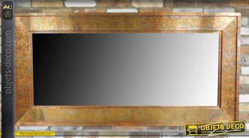 Miroir en métal finition cuivré avec mulitude de reflets, 180cm de long rectangulaire