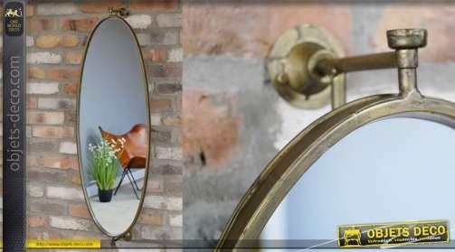 Miroir mural en métal, forme ovale esprit chic fintion vieux doré