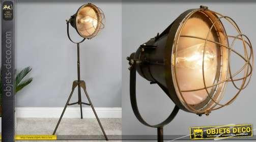 Lampe type lampadaire en métal esprit ancien projecteur avec grille