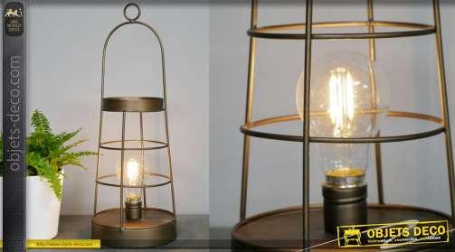 Lampe de table déco en métal LED esprit lanterne à suspendre