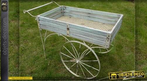 Chariot jardinière décoratif à deux roues, bois et métal style vintage