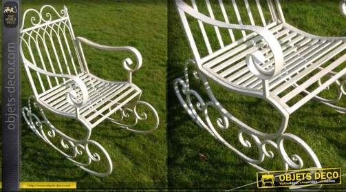 Fauteuil rocking-chair en fer forgé patine crème antique
