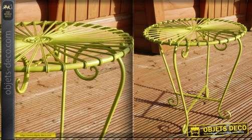 Table ronde fer forgé Art Déco vert pomme